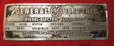 Locomotive Builders Plate - Penn Central/Conrail General Electric U23B #2765