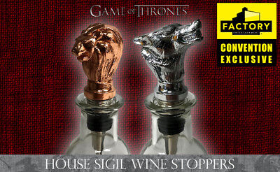 """GAME OF THRONES """"HOUSE SIGIL WINE STOPPER SET"""" 2018 SDCC Exclusive NIB"""