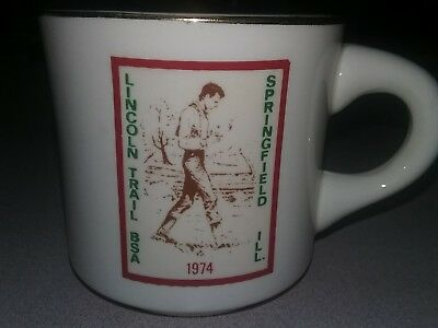 VINTAGE BOY SCOUTS BSA 1974 Lincoln Trail Springfield ILL. CUP MUG