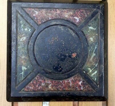 "Antique Arts & Crafts Mossy Marble Trivet Carved Felt Back 7"" Sq Mission"