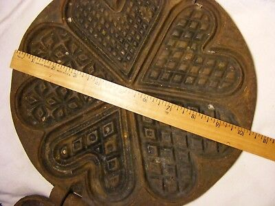 5 different Beautiful patterns  Large Heart Waffle Iron Early Spru mark casting