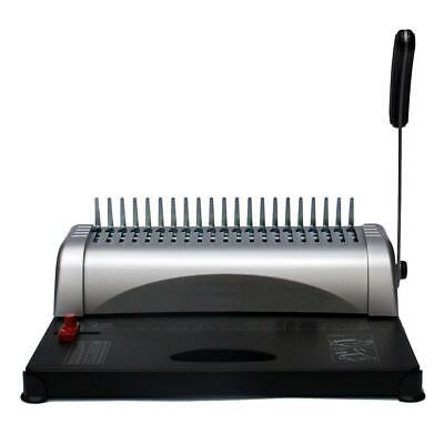 21 Hole Handle Manual Comb Binding Machine Paper Punch Binder W/Combs 450 Sheets