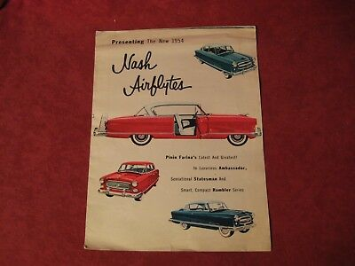 1954 Nash Showroom Dealership Brochure Catalog Old Original Vintage Booklet