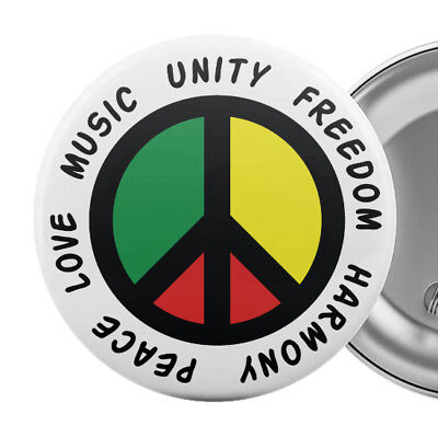 "Reggae Peace Sign Symbol Badge Button Pin 55mm 2.25"" Music Love Unity Freedom"