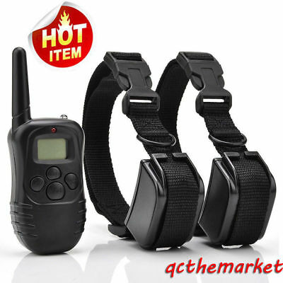 998DR Waterproof Rechargeable Electric Remote+ 2 Dog Shock Training Collar 330 Y