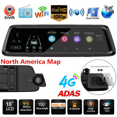 Universal 4G WiFi Bluetooth GPS Car DVR Camera Rearview Mirror Cam ADAS G-sensor