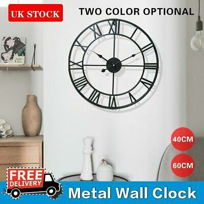 Large Round Wall Clock Metal Skeleton Roman Numeral Indoor/Garden Outdoor Black