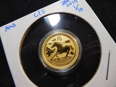 C15 Australia 2014 GOLD 1/10 Oz. Lunar Year of the Horse BU in Capsule