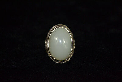 Collectible decorate Tibet silver flower inlay white jade adjust woman Ring gift