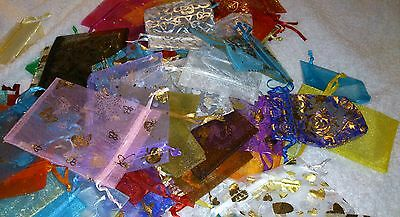 JOB LOT >200 IMPERFECT ORGANZA BAGS Mixed Sizes Colours Plain & Patterned