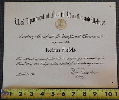 US Department of Health, Education, and Welfare Certificate of Achievement 1980