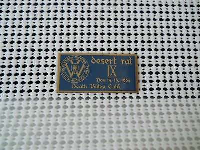 1964 Volkswagen Owner's Club Los Angeles Desert Rat Ix Death Valley Dash Plaque