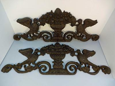 Antique Ornate 2Pc Cast Iron Architectural Salvage Gate/fence/garden Bird/basket