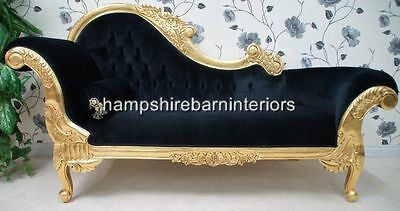 Hampshire Ornate Medium French Black Velvet Chaise Longue Gold Lounge Sofa