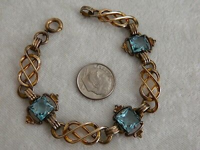Vintage Art Deco Era Blue Glass Infinity Knot Link Gold Filled Bracelet
