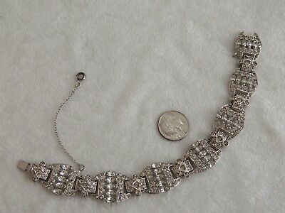 Vintage Art Deco Era Rhinestone Rhodium Bracelet Sterling Safety Chain
