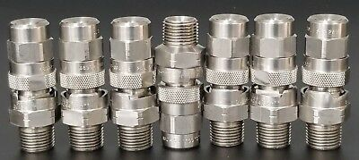 "Lot Of 7 New Spraying System Co. 3/8"" Qjja-Ss Nozzles W/ 48992-Qga-Ss, Ss-24W"