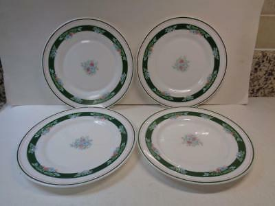 4 Arcopal MISTY MEADOW Salad Dessert Plates Milk Glass Made in France Green Blue