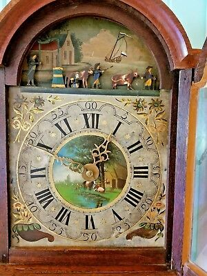 ANTIQUE 1830's DUTCH, STAARTKLOK WEIGHT DRIVEN WALL CLOCK W/ ENDLESS ANIMATION.