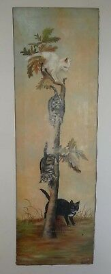 """OUTSTANDING ANTIQUE 1890s to 1910 FOLK ART PAINTING OF KITTENS IN TREE 37"""""""