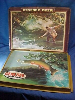 2-1980s GENESEE BEER Illuminated BEER SIGN Front Panel w FISH Scenes