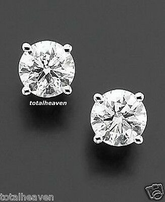 4ct tw Solid 14K White Gold 8mm AAA D-Flawless CZ Stud Earrings NEW SPARKLING