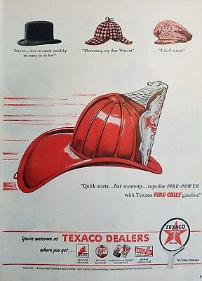 1946 Texaco dealers Fire Chief gasoline fireman's cap vintage ad