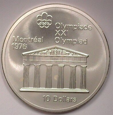 Canada 1974 Silver $10 -Montreal Olympics, Temple Of Zeus- Near Perfect Unc