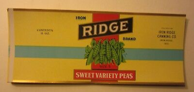 Wholesale Lot of 50 Old Vintage 1930's - IRON RIDGE Peas Can LABELS - Wisconsin