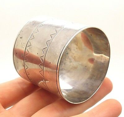 Antique Victorian 925 Sterling Silver  Textured Etched Napkin Ring Holder