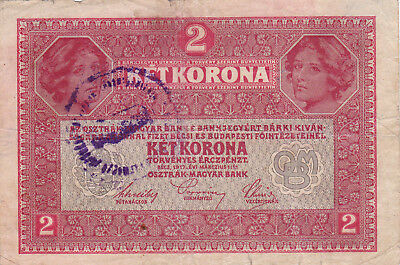 2 Korona/kronen Vg+ Note1919 With An Unidentified Stamp From Shs Kingdom!