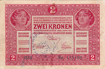 2 Korona/kronen Fine Note1919 With A Contemporary Fake Stamp From Shs Kingdom!