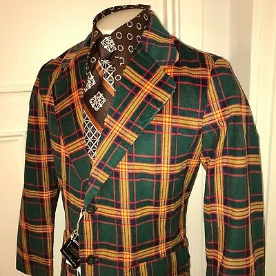 NEW Vtg 60s 70s Green PLAID Cord CORDUROY Mens 42 Sport Coat Jacket Blazer NWT