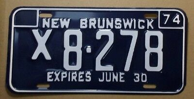 1974 New Brunswick Canada Steel License Plate,  # X8-278  --   VG - Never Used