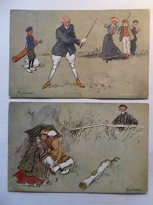 "Golf Humour. Two Lance Thackarey Postcards. "" The Game of Golf "" 9499. 1910."
