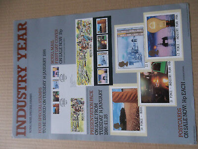 Royal Mail A3 Post Office Poster 1986 Industry Year Oil Rig Farming First Day