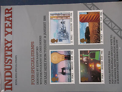 Royal Mail A4 Post Office Poster 1986 Industry Year Oil Rig Farming