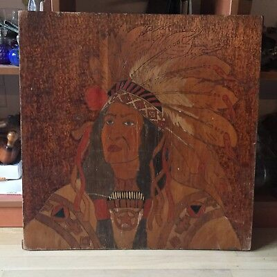 Signed Native American PYROGRAPHY Indian Warrior Chief Wood Etched Tint Wall Art