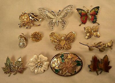 12pc ALL Signed & Unsigned Vintage Brooch Pin Lot Butterfly, Flowers