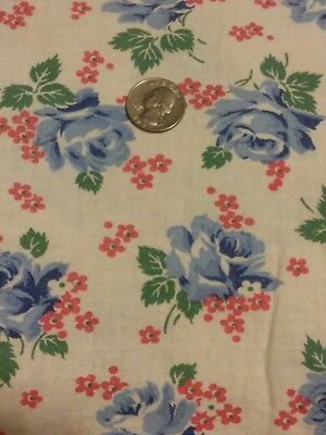 "Vintage Feedsack Blue Pink Floral 41 1/4"" x 36"" Feed sack Flowers"