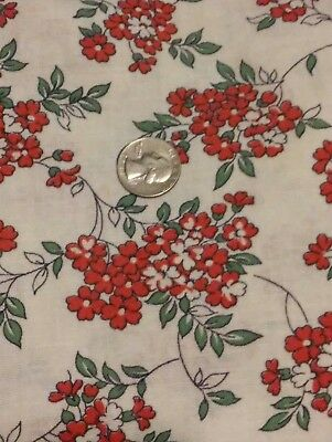 "Vintage Feedsack Red & White Floral 41"" x 36"" Feed sack Flowers"