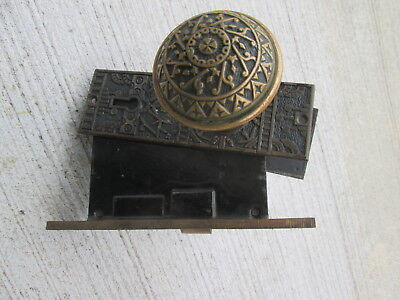 antique brass bronze ornate door knob set with 2 face plate backplate  Victorian