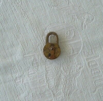 "Vintage Small 2 1/2"" Brass ""Pressure Regulator"" Lock... Marked 7P- NO Key"