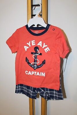Carter's Carter Boys NWT Size 9 Months Anchor Outfit 2PC NWT NEW Shirt Shorts