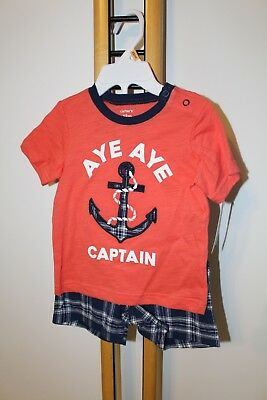 Carter's Carter Boys NWT Size 12 Months Anchor Outfit 2PC NWT NEW Shirt Shorts
