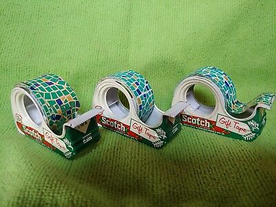 Vintage 3 Scotch Gift Wrap Christmas Tape Lot