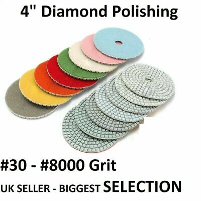 "100mm (4"") WET Diamond Polishing pads Concrete Granite Marble Individual Grits"