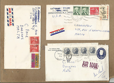 "Usa To Malta-Scarce Group Of Three Covers From 1964-65 To ""malta"""