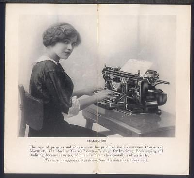 1912 UNDERWOOD COMPUTING MACHINE Advertising Folder WORLDS CHAMPION TYPIST