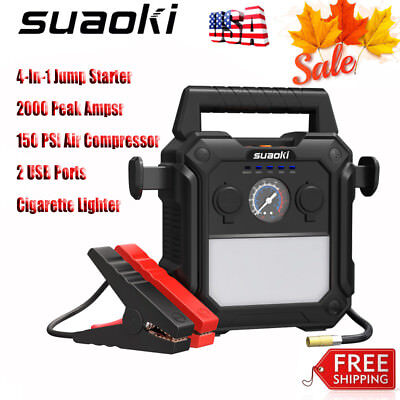 4-In-1 Jump Starter 2000 Peak Amps with 150PSI Air Compressor for 12V Car Boat